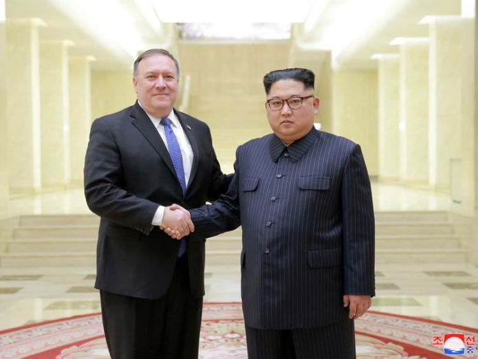 North Korean leader Kim Jong Un shakes hands with US Secretary of State Mike Pompeo We'll see if North Korea summit still on We'll see if North Korea summit still on skynews kim jong un mike pompeo 4305532