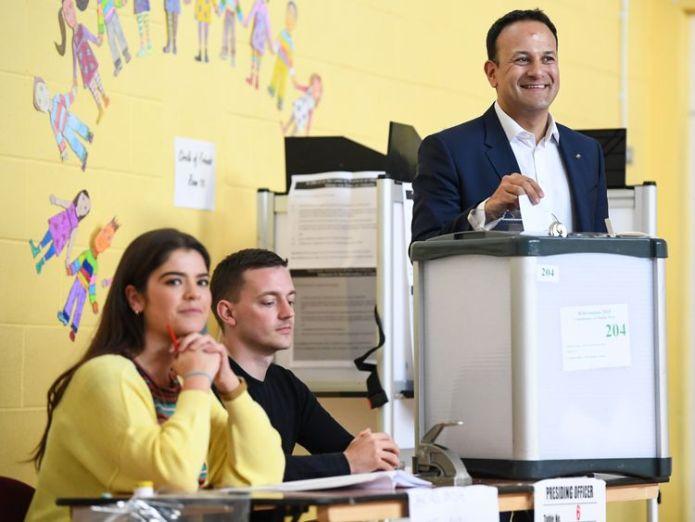Mr Varadkar was up early to cast his vote in Dublin Irish PM Leo Varadkar 'quietly confident' Irish PM Leo Varadkar 'quietly confident' skynews leo varadkar ireland 4320452