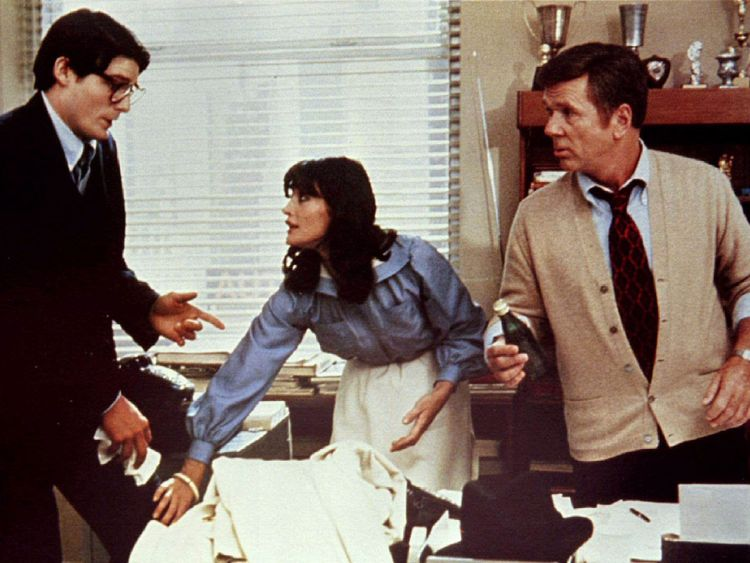 Margot Kidder with Christopher Reeve (L) and Jackie Cooper in Superman