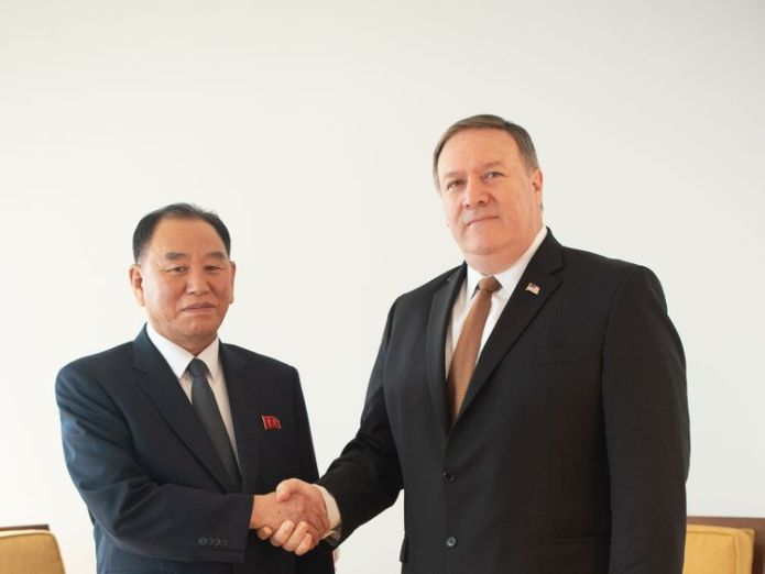 North Korea Vice-Chairman Kim Yong Chol meets with United States Secretary of State Mike Pompeo  North Korean officials snub meeting on US soldiers' remains skynews mike pompeo kim yong chol 4325258