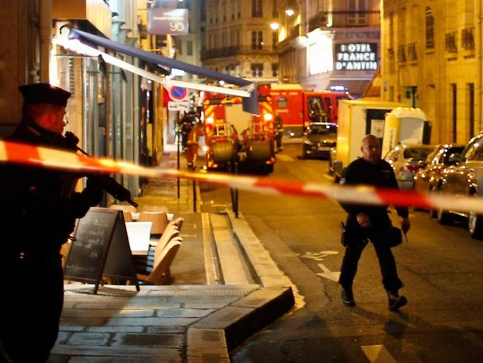 Police officers cordon off the area after the attack Paris attacker identified as Chechen-born French citizen Paris attacker identified as Chechen-born French citizen skynews paris attack terror investigation 4308420
