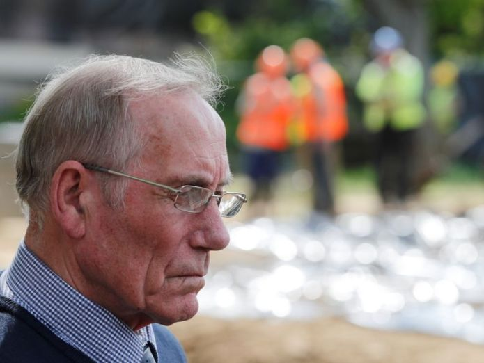 Former Royal Army officer Richard Lee is photographed at the site where Royal British military police search for remains of Lee's two-year-old girl Katrice who went missing 36 years ago in Germany where her father was stationed with the British army at the time, near the river of Alme in Paderborn, Germany, May 3, 2018 dig reveals 'no new clues' about toddler who went missing in 1981 Dig reveals 'no new clues' about toddler who went missing in 1981 skynews richard lee paderborn 4302047