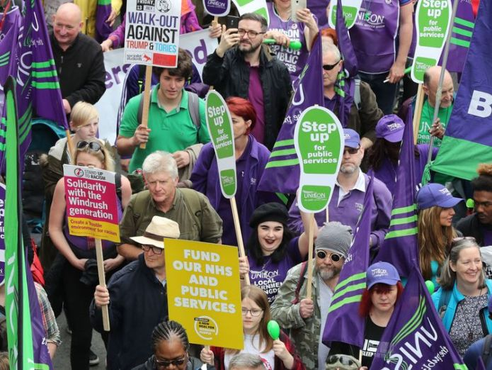 Thousands of people took part in the demonstration Corbyn attends London rally amid 'worst pay squeeze for workers for 200 years' Corbyn attends London rally amid 'worst pay squeeze for workers for 200 years' skynews tuc rally 4307775
