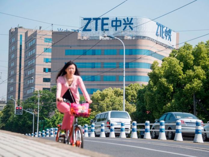 This picture taken on May 3, 2018 shows the ZTE logo on an office building in Shanghai Trump turns his attention to jobs in China as ZTE struggles with ban Trump turns his attention to jobs in China as ZTE struggles with ban skynews zte china telcomms 4309779
