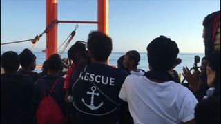 A convoy composed of 630 migrants docked in Valencia, Spain on the morning of Sunday, June 17.