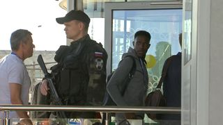 England footballer Danny Welbeck eye's up the heavily armed Russian security as the team arrive in Volgograd Holders Germany beaten by Mexico in opening match in Russia Holders Germany beaten by Mexico in opening match in Russia skynews world cup england welbeck 4338671