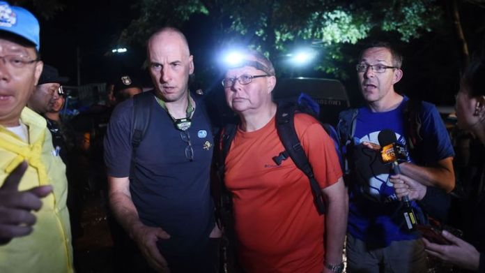 Richard William Stanton (2nd-L), Robert Charles Harper (3rd-L) and John Volanthen (R) arrive at the caves  How the rescue operation unfolded skynews british cave divers 4347652