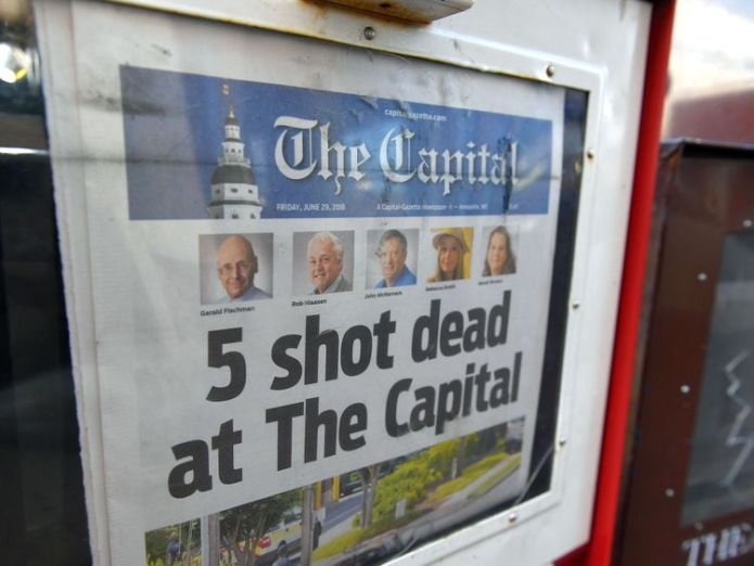 The paper on Friday morning after the shooting  'City is in a state of shock' skynews capital gazette maryland 4349219