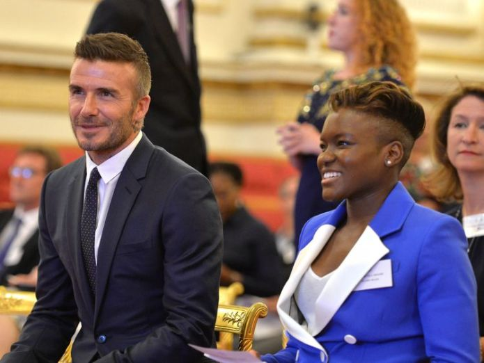 David Beckham and Nicola Adams Queen joins Harry and Meghan to honour young leaders at star-studded bash Queen joins Harry and Meghan to honour young leaders at star-studded bash skynews david beckham nicola adams 4346638