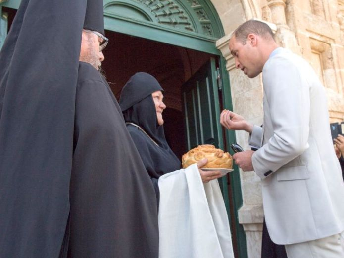 The duke takes bread and salt at the entrance to the church  William visits great-grandmother Princess Alice's Jerusalem tomb skynews duke of cambridge prince william 4347880