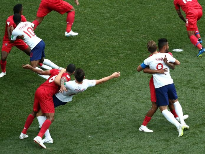 England players find themselves held up by Panamanian defenders during a corner Team through to knockout stage of World Cup Team through to knockout stage of World Cup skynews england panama 4344688