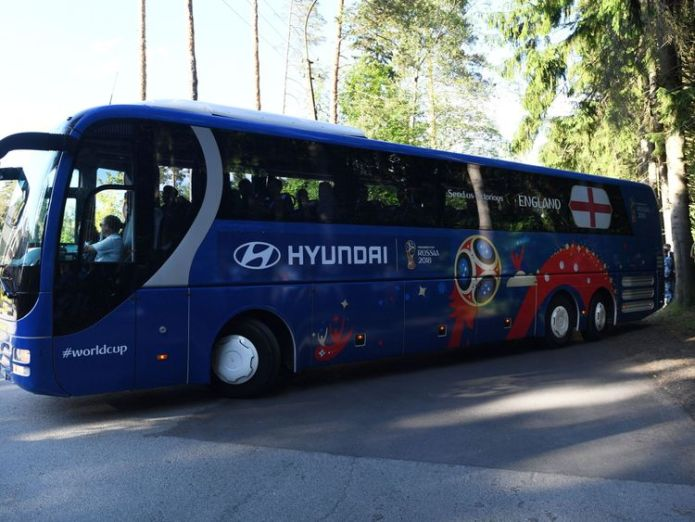 The England squad arrive at the team hotel in Repino, Russia England footballers arrive in Russia amid racism row England footballers arrive in Russia amid racism row skynews england russia world cup 4334420