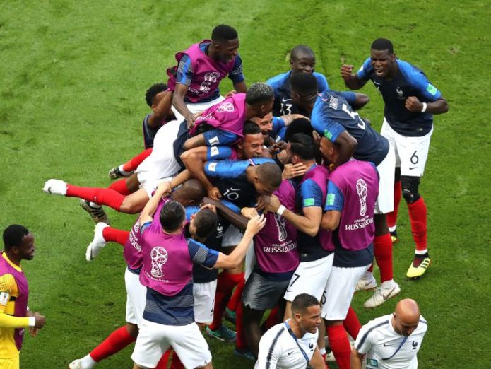 Benjamin Pavard celebrates drawing his side level  Lionel Messi heading home as World Cup last 16 starts with bang skynews france benjamin pavard 4349811