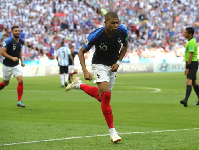 Kylian Mbappe celebrates putting France in the lead  Lionel Messi heading home as World Cup last 16 starts with bang skynews kylian mbappe france 4349853