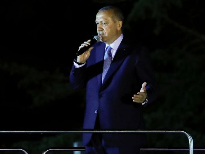 Recep Tayyip Erdogan addresses supporters in Istanbul Erdogan 'wins' Turkey's presidential election Erdogan 'wins' Turkey's presidential election skynews recep tayyip erdogan 4345028