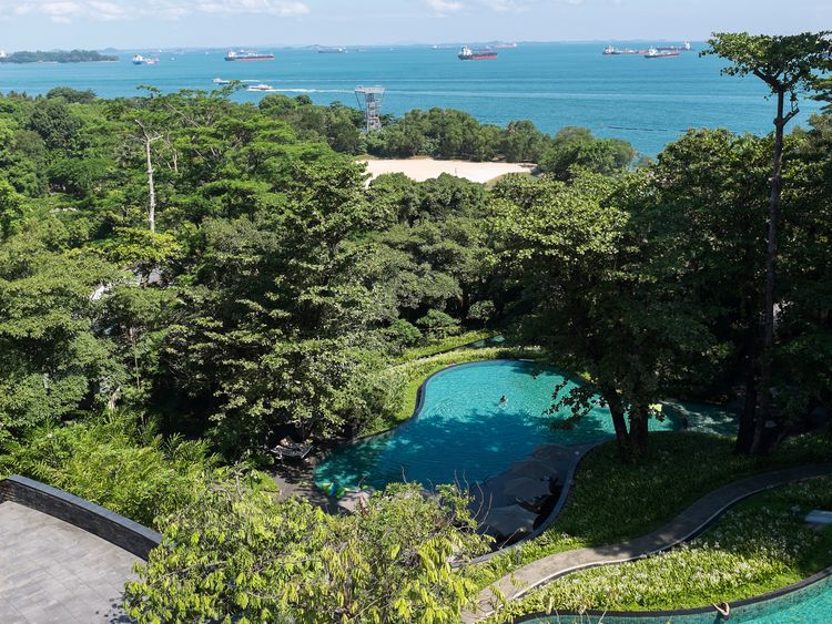 SINGAPORE, SINGAPORE - 4 JUNE: View of the Singapore Straits from the Capella Hotel in Sentosa Island on June 4, 2018