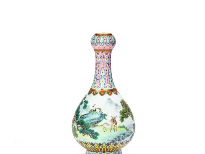 This Chinese vase sold at an auction in France for 16.2 million euros  Chinese vase found in shoebox in French attic sells for £14m Chinese vase found in shoebox in French attic sells for £14m skynews vase chinese qing dynasty 4334303
