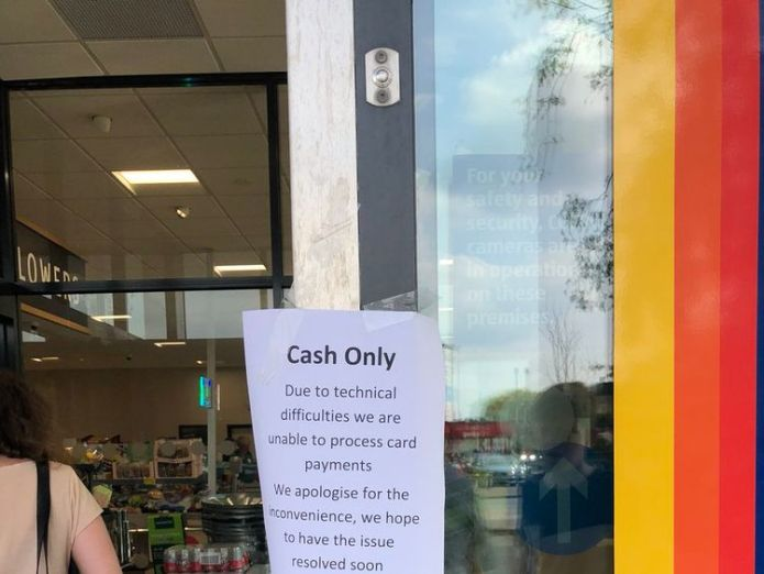 An Aldi store in Manchester was forced to post a sign outside about the problems. Credit: MancBees Visa says it is now 'working normally' after service disruption Visa says it is now 'working normally' after service disruption skynews visa problems cards 4325934