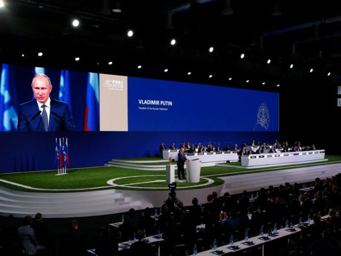 Vladimir Putin addressed the FIFA Congress in Moscow before the result was announced United States, Canada and Mexico to jointly host 2026 World Cup United States, Canada and Mexico to jointly host 2026 World Cup skynews vladimir putin moscow 4335015