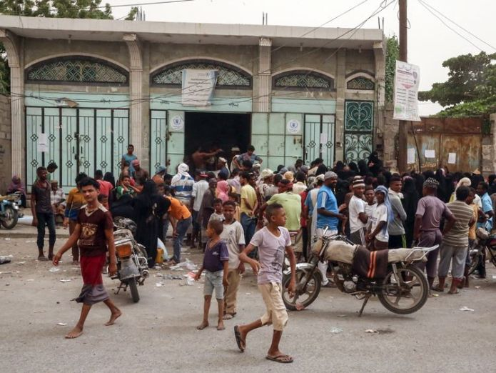 Food aid being distributed in Hodeidah Bloodbath likely in Yemen after Saudi attack on Hodeida Bloodbath likely in Yemen after Saudi attack on Hodeida skynews yemen hodeidah 4336439