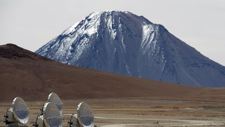 Radio telescopic antennas of the ALMA project (Atacama Large Millimeter / submillimeter Array) in the Chajnantor Plateau, Atacama Desert, about 1500 km north of Santiago, on March 12, 2013. The ALMA, an international partnership project between Europe, North America and East Asia with the participation of Chile, is currently the largest astronomical project in the world. On Wednesday, March 13th, 59 high-precision antennas will be opened at 5000 meters above sea level in the extremely dry Atacama Desert. AFP PH