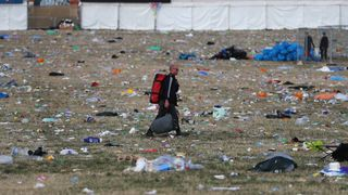 Litter pickers begin the job of clearing the fields at the Glastonbury Festival site at Worthy Farm in Pilton on June 26, 2017 near Glastonbury, England. Glastonbury Festival of Contemporary Performing Arts is the largest greenfield festival in the world. It was started by Michael Eavis in 1970 when several hundred hippies paid just ..1, and now attracts more than 175,000 people  Degrading plastics 'release greenhouse gases', study shows skynews glastonbury festival 4373933