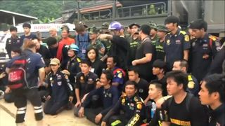 The team celebrate after 18 days since discovering the the trapped team   Boys trapped in Thailand cave mourn diver who died in rescue mission skynews navy seals thailand 4358751
