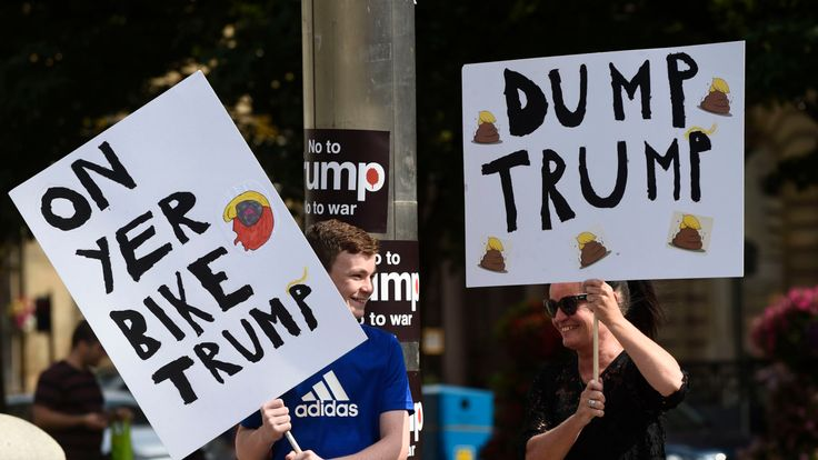 Demonstrators in George Square, Glasgow, for the Scotland United Against Trump protest against the visit of US President Donald Trump to the UK.Picture by: Lesley Martin/PA Wire/PA Images