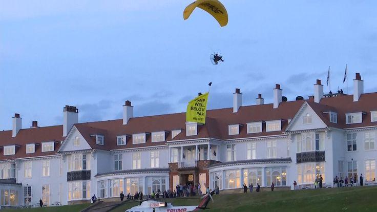 "Banner saying ""trump well below par"" flown in Scotland"