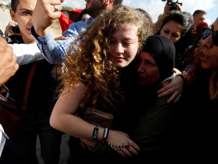 Ahed Tamimi reunites with supporters after being released from prison  Palestinian teenager who slapped Israeli soldier released skynews ahed tamimi tamimi 4374636