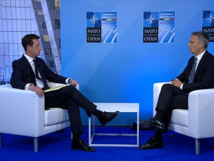 Mr Stoltenberg spoke to Sky News on the eve of a crucial summit  NATO will 'stand united' despite 'new threats' skynews alistair bunkall jens stoltenberg 4358655
