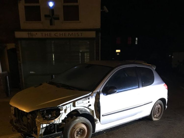 The 'unroadwothy' car had no bumper or headlights Pic: @NSRoadsPolicing