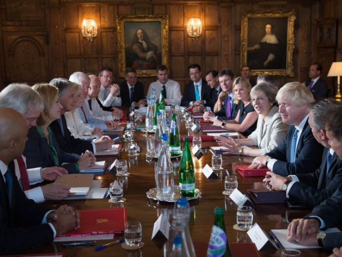Theresa May holding a cabinet meeting at Chequers in 2016             Juncker compares Brexit talks to 'polyphonic chorus' as he hopes for November deal skynews chequers cabinet ministers 4354479