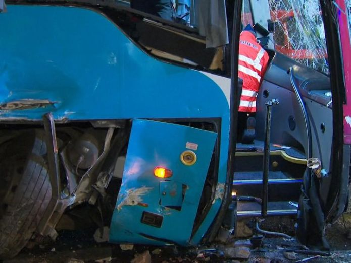 The coach hit some concrete blocks  Britons among injured after coach overturns in Belgium skynews coach aalter belgium 4370981