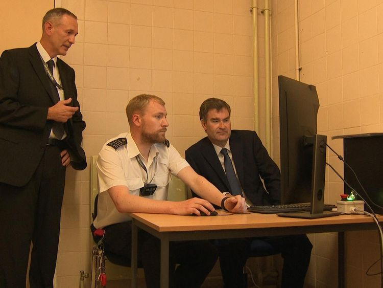 David Gauke, right, toured the prison