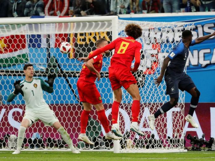 Samuel Umtiti fires France into the lead against Belgium  France beat Belgium to reach final in Russia skynews france belgium samuel umtiti 4358671