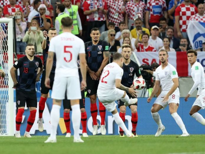 Kieran Trippier scores for England.  England knocked out after semi-final loss to Croatia skynews kieran trippier england 4359432