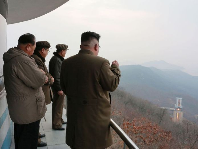 Kim Jong Un inspects the jet test of a newly-developed high-thrust engine at the Sohae Satellite Launching Station  Satellite images show North Korea is 'dismantling facilities at ballistic missile site' skynews kim jong un north korea 4369771