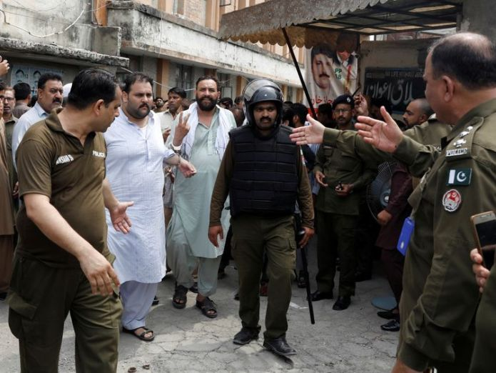 Supporters were arrested after trying to stop the arrest of Mr Sharif's son-in-law  Former Pakistani PM Nawaz Sharif and daughter face arrest on return from London skynews nawaz sharif supporters 4360956