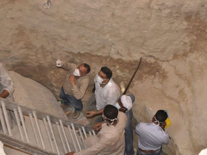 Mostafa Wazir, Secretary General of the Supreme Council of Antiquities, inspects the site of the sarcophagus   Mystery 30-ton sarcophagus in Egypt found to contain three mummies skynews sarcophagus egypt 4366352