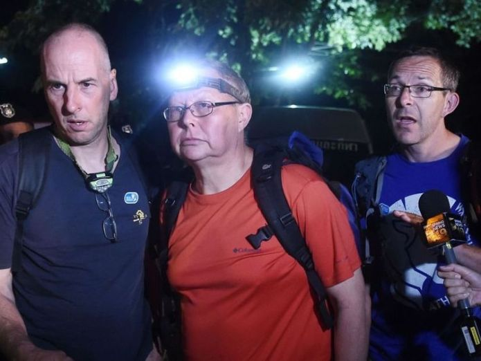 The British Cave Rescue Council has said the diver speaking in the video is likely to be either Richard William Stanton (left) or John Volanthen (right)  Moment British diver reaches boys lost in Thai cave for 10 days skynews thai cave rescue 4351681