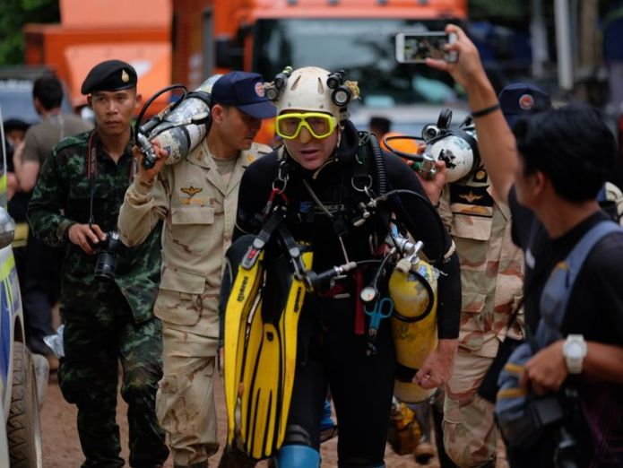 British cave-diver John Volanthen walks out from Tham Luang Nang Non cave in Chiang Rai, Thailand.  Hollywood producers plan major film skynews thailand cave rescue 4352419
