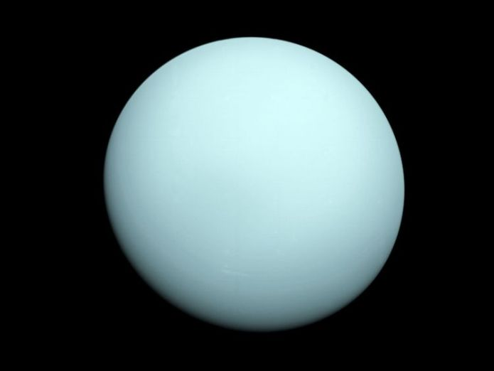 This is an image of the planet Uranus taken by the spacecraft Voyager 2. NASA's Voyager 2 spacecraft flew closely past distant Uranus, the seventh planet from the Sun, in January 1986. 
