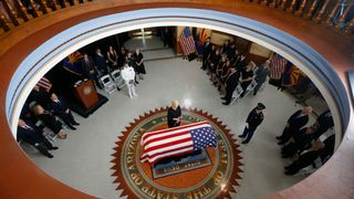 John McCain's wife Cindy at the Arizona State Capitol  Joe Biden wipes a tear as he pays tribute to 'brother' John McCain skynews john mccain arizona 4404981