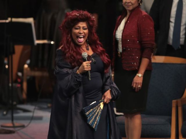 Chaka Khan sings during the service for Aretha Franklin