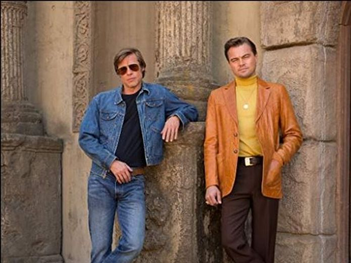 Brad Pitt and Leonardo DiCaprio play a TV actor and his stunt double in the film  First look at Margot Robbie as murdered actress Sharon Tate skynews brad pitt leonardo dicaprio 4383017