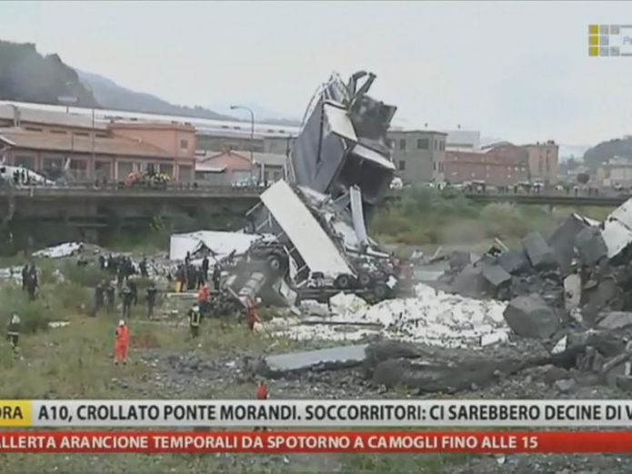 Emergency workers at the scene  Italy to launch 'enormous' infrastructure project after Genoa bridge collapse skynews genoa bridge collapse 4389737