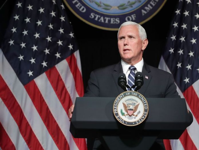 U.S. Vice President Mike Pence announces the Trump Administration's plan to create the U.S. Space Force by 2020 during a speech at the Pentagon August 9, 2018 in Arlington, Virginia. Describing space as advasarial and crowded and citing threats from China and Russia, Pence said the new Space Force would be a separate, sixth branch of the military.  Who is Donald Trump's Colonel Mustard? skynews mike pence vice president 4396906