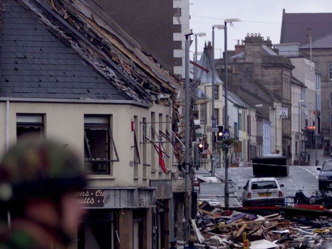 The wrecked scene of the Omagh bombing