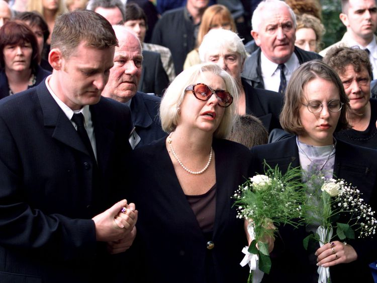 Donna-Marie Barker at the funeral of her 12-year-old son James